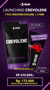 Crevolene Evolene Creatine 330 Gram Bpom Kreatine Monohydrate